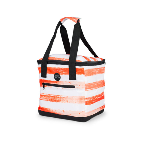 Lightweight essential insulated cooler bag in sunset orange stripe