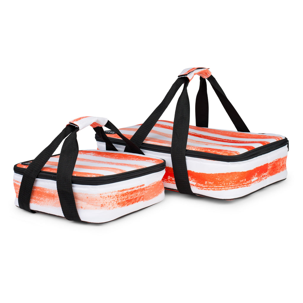Large and small insulated social dish carrier set in sunset orange stripe shown individually