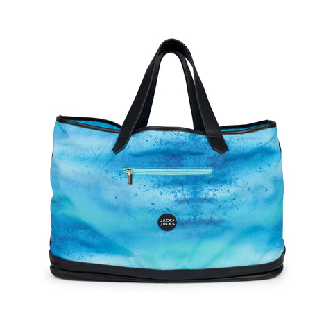 Large Coastal beach bag with zip sand-release in reef blue