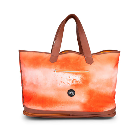 Large Coastal beach bag with zip sand-release in sunset orange