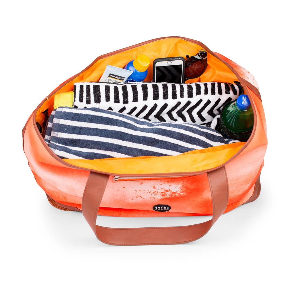 Inside pockets of large Coastal beach bag in sunset orange