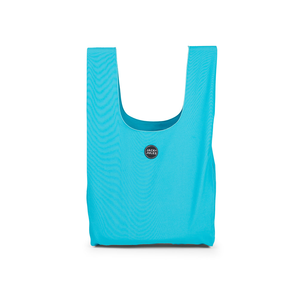 Reusable shopping market bag in aqua blue