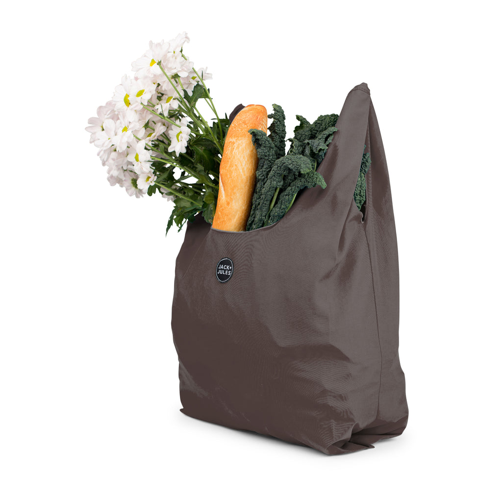 Reusable market bag for shopping in charcoal