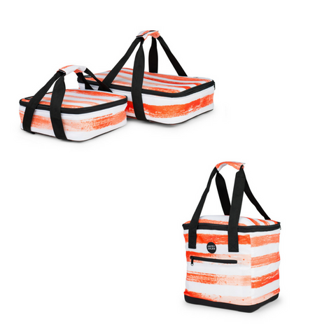PARTY TIME SET IN SUNSET ORANGE STRIPE