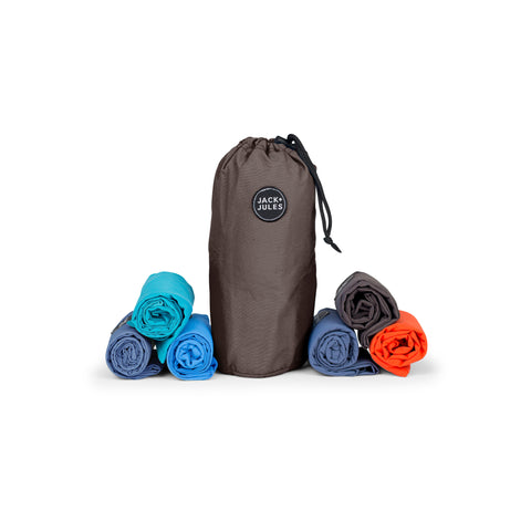 Six-pack reusable market shopping bag set with charcoal drawstring pouch
