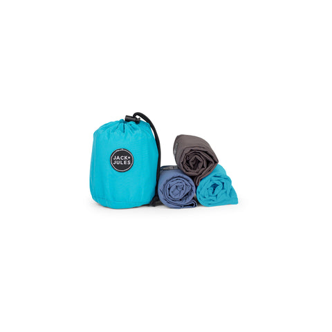 Three pack of eco-friendly reusable shopping bags in aqua blue drawstring pouch
