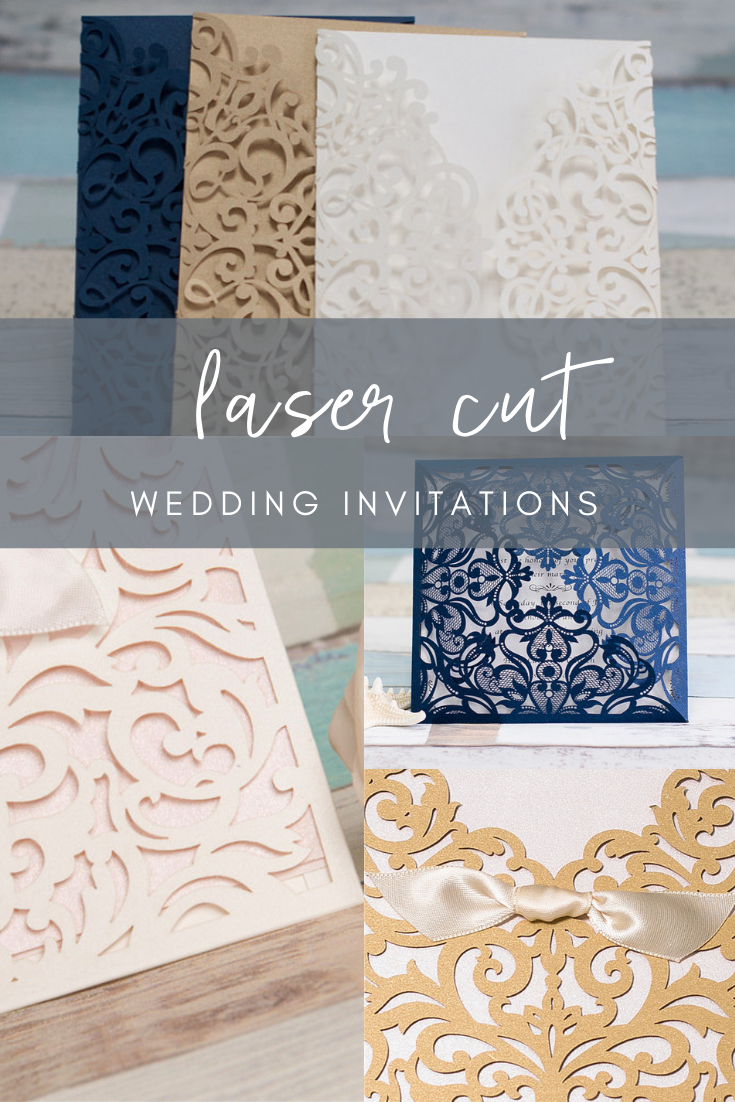 Want to add an elegant touch to your wedding invitations?   Try adding some laser cut designs to your invitations! As simple or as elaborate as you want, you can spice up your invitations to make them uniquely you.