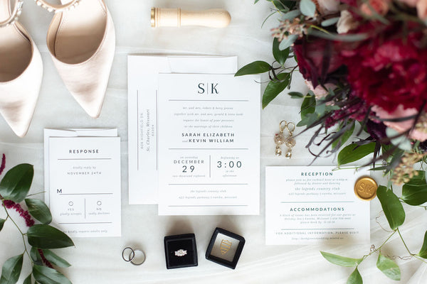 Wedding Invitation with Rings invited by lamaworks minimalist clean