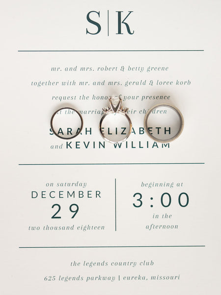 Wedding Invitation with Rings invited by lamaworks winter wedding christmas new years