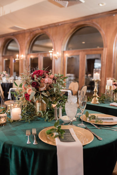Wedding Reception missouri legends country club hunter green and gold greenery