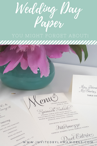 Wedding Day Paper - all the things you'll forget Invited by LamaWorks