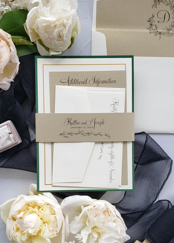 custom wedding invitation design green and gold