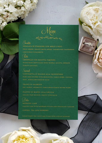 green and metallic gold wedding menu