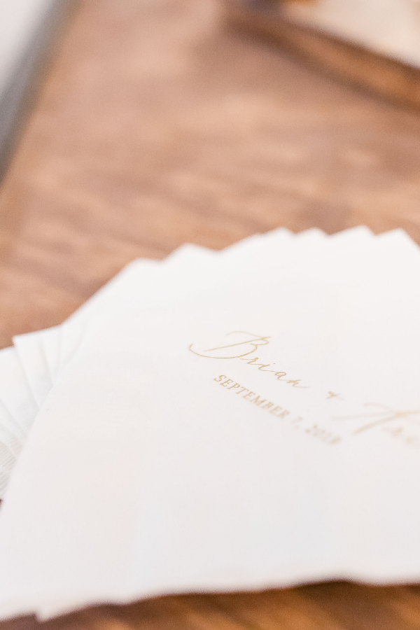 foil stamped personalized napkins wedding