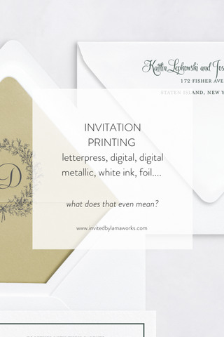 printing invitations letterpress, metallic, foil