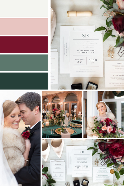 winter wedding color scheme mood board hunter green burgundy gold and pink