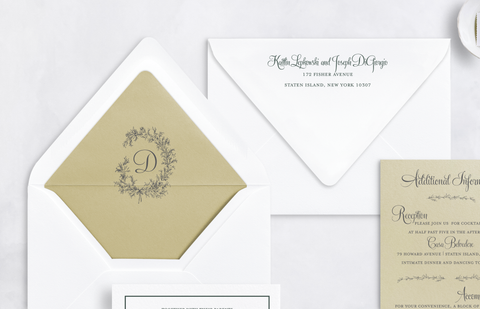 custom crest monogram envelope liner
