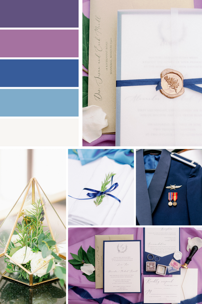 purple and blue and gold wedding mood board