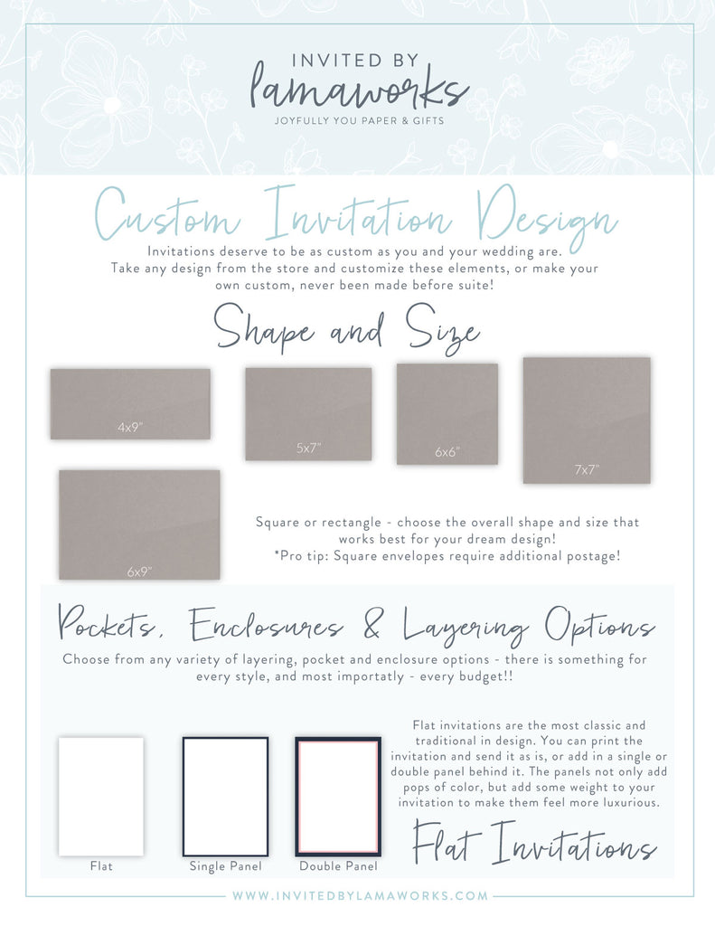 invitation shapes and invitation sizes by Invited by LamaWorks