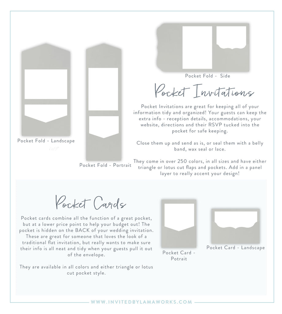 Different styles and shapes of Pocket invitations by Invited by LamaWorks