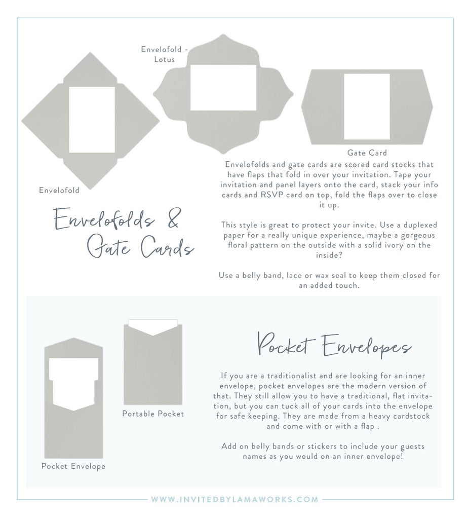Unique pocket invitations and gate cards and petal fold invitations by Invited by LamaWorks