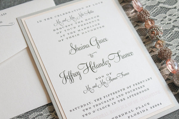 blush lamaworks wedding invitation
