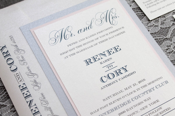 blush and navy lamaworks wedding invitation