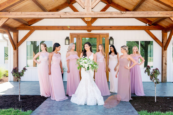 blush pink bridesmaids peach flowers