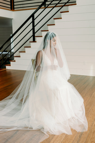 formal wedding portrait long veil