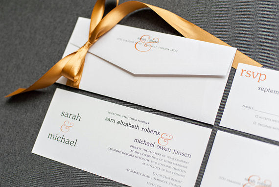Orange Modern Wedding Invitation Suite - Skinny Ampersand - Custom Colors - Sarah and Michael
