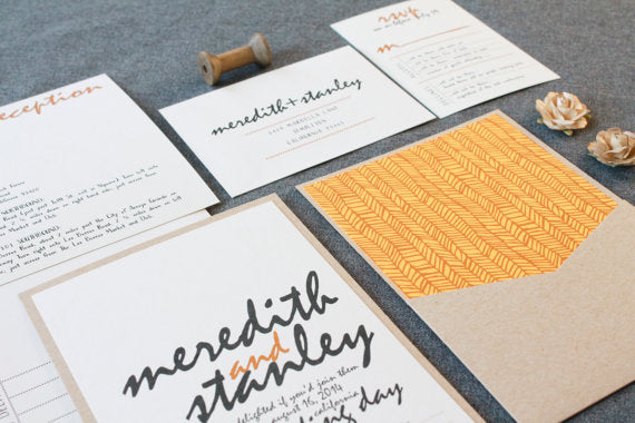 Rustic Kraft Wedding Invitation, Whimsical Wedding Invitation, Yellow Wedding, Herringbone Invitation, Country Chic - Meredith and Stanley