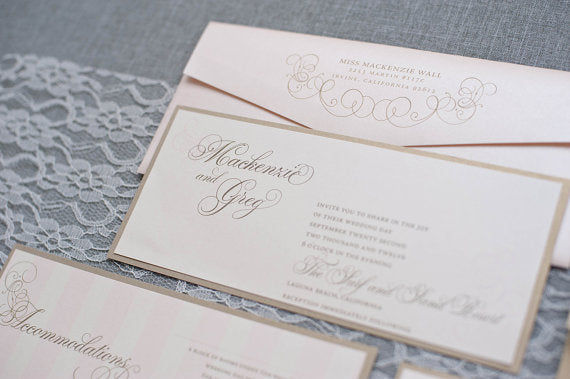 Champagne and Blush Pink Wedding Invitation, Formal Wedding Invitation, Lavish Wedding Invite, Pocket Wedding Invitation,Mackenzie and Greg  Ask a question