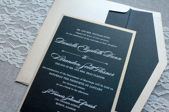 Black and Gold Wedding Invitation - Black Pocket Invitation, Formal Invitation, Custom Invitation, Traditional Invite - Danielle and Brandon