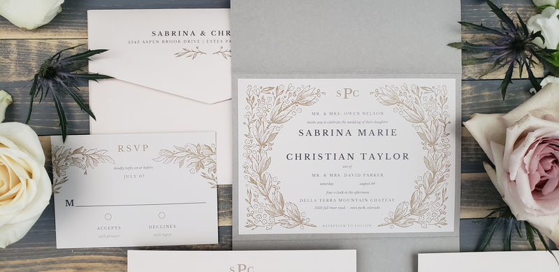 Monogram Laurel Traditional Wedding Invitation - Laura