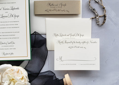 digital printing luxury wedding invitation, classic and organic design