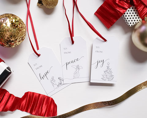 Line Drawn Religious Gift Tag Set
