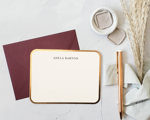 Foil Edged Personalized Stationery - Adela