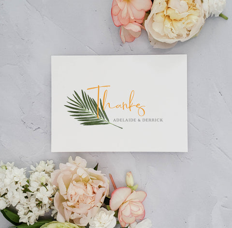Tropical Palm Branch Thank You Card