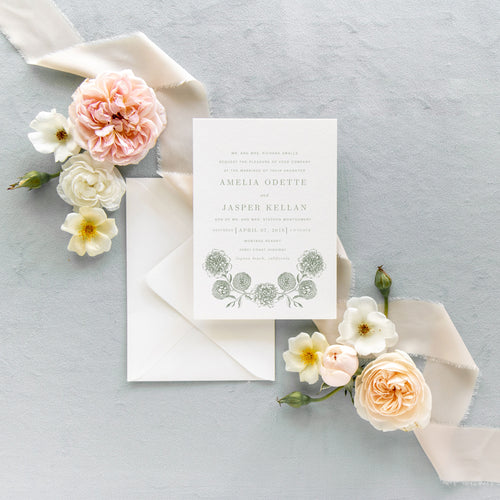 Sage Green Floral Sketch Invitation Suite - Amelia