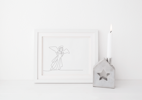 Minimalist Line Drawn Angel Art Print