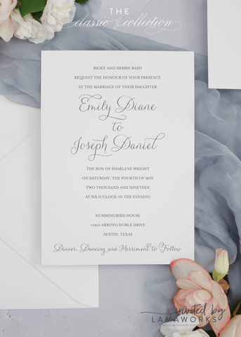 Simple, Modern, Minimalist Wedding Invite - Emily