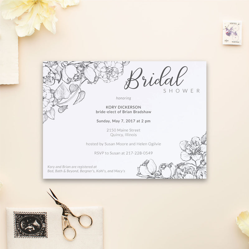 Boho Peony Bridal Shower Invite