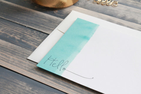 Hand Dip Dyed Cards - Ombre Stationery Set - Turquiose Hello
