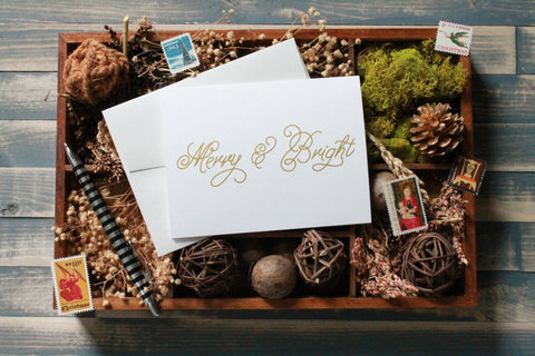 Metallic Gold Merry and Bright Christmas Card