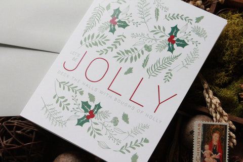 Let's be Jolly Holly Christmas Card