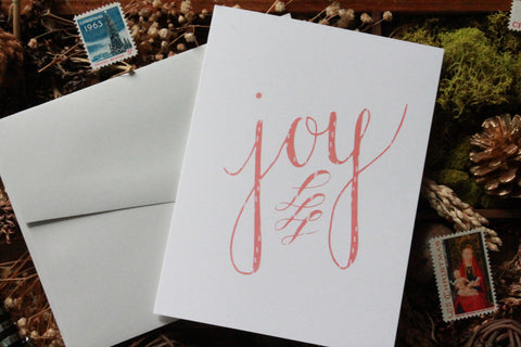 Modern Pink Joy Christmas Card