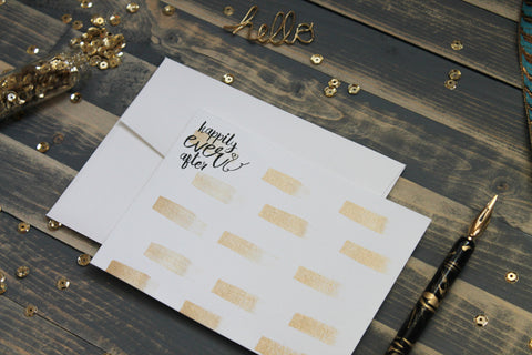 Happily Ever After - Hand Painted Gold Note Cards