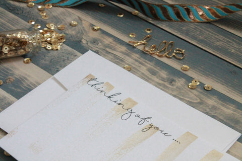 Thinking of You - Hand Painted Gold Note Cards