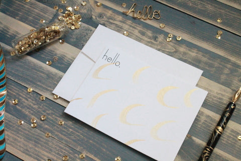 Simple Hello - Hand Painted Gold Note Cards