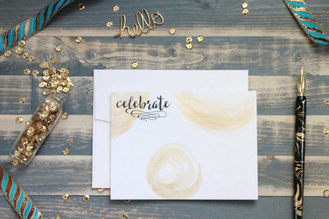 Celebrate - Hand Painted Gold Note Cards